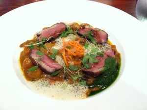 duck breast and leg confit at lola
